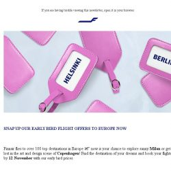 [Finnair] Early bird offers to Europe are here – Copenhagen from 800 SGD