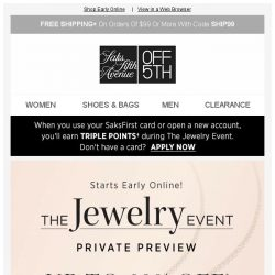 [Saks OFF 5th] LOW INVENTORY alert for your Frye item! + Jewelry Event Preview: Up to 60% OFF + EXTRA 10% OFF!