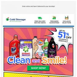 [Cold Storage] 🏠 Squeaky Clean Buys to Freshen Up Your Home! 🏠 Up to 51% Off!