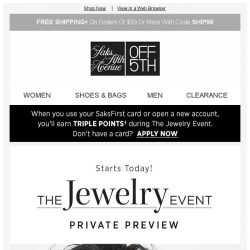 [Saks OFF 5th] The Jewelry Event Private Preview starts NOW, online & in stores