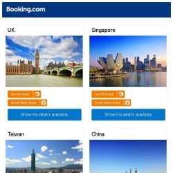 [Booking.com] London, Singapore, or Taipei? Get great deals, wherever you want to go