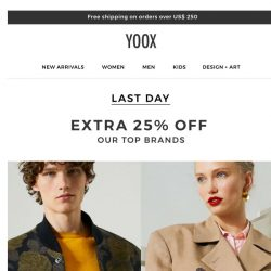 [Yoox] EXTRA 25% OFF top brands! Make the most of it today...