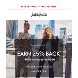 [Neiman Marcus] Now extended! It's not too late for 25% back