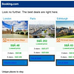 [Booking.com] London, Paris and Edinburgh -- great last-minute deals as low as S$ 48!