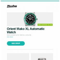 "[Massdrop] Orient Mako XL Automatic Watch, Samsung 55/65/75/82"" 4K Ultra HDR10+ NU8000 TVs, Vargo Titanium 700ml and 1L BOT and more..."