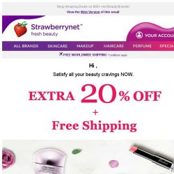[StrawberryNet] 20% Off +FREE Shipping will Satisfy Every Beauty Craving 😍