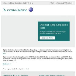 [Cathay Pacific Airways] Five days left: enjoy exclusive fares with OCBC Cards