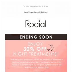 [RODIAL] Ending Soon: 30% Off Night Treatments 🌙