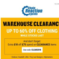 [Chain Reaction Cycles] 60% off YOUR Size: 👕 + 👖 = 👌
