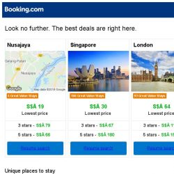 [Booking.com] Nusajaya, Singapore and London -- great last-minute deals as low as S$ 19!