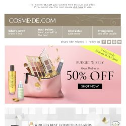 [COSME-DE.com] $$BUDGET WISELY$$ [3 Days ONLY] Great Deals up to 50% Off. Shop NOW >>