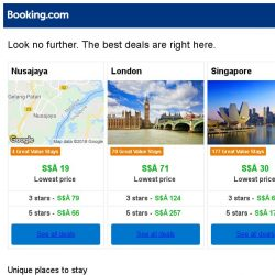 [Booking.com] Nusajaya, London and Singapore -- great last-minute deals as low as S$ 19!