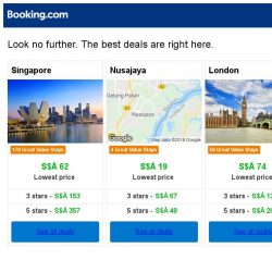 [Booking.com] Singapore, Nusajaya, or London? Get great deals, wherever you want to go