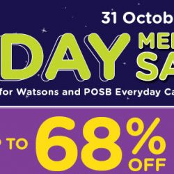 Watsons: 1-Day Member Sale with Up to 68% OFF Over 5000 Products + 6% Cash Rebate with POSB Everyday Card!