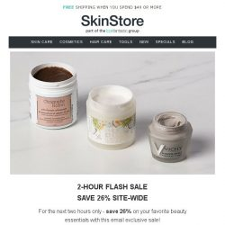 [SkinStore] Flash Sale - 26% Off Site-Wide (2 hours only)
