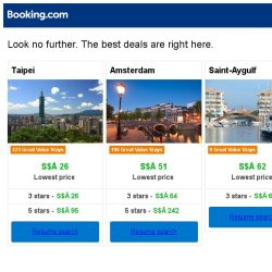 [Booking.com] Taipei, Amsterdam, or Saint-Aygulf? Get great deals, wherever you want to go