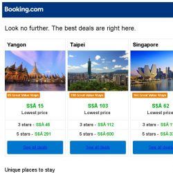 [Booking.com] Yangon, Taipei and Singapore -- great last-minute deals as low as S$ 15!