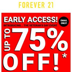 [FOREVER 21] UP TO 75% OFF | Early Access
