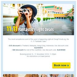 [cheaptickets.sg] 🚨11.11 Fantastic Flight Sale | 4-days only | Save up to $20