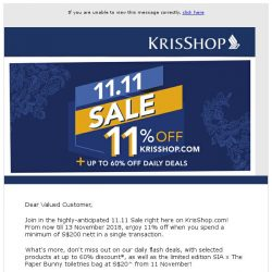 [Singapore Airlines] The KrisShop 11.11 Sale is now on