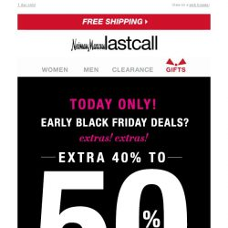 [Last Call] Extra 40%–50% off shoes, handbags, and jewelry >> Early Black Friday deals!