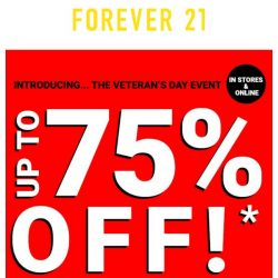 [FOREVER 21] UP TO 75% OFF!!! All weekend long!
