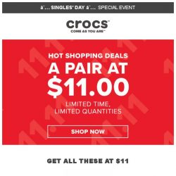 [Crocs Singapore] A pair at $11 – You don't want to miss this Super deal!
