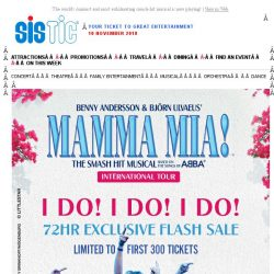 [SISTIC] SISTIC Exclusive Flash Sale - Enjoy 25% off tickets to MAMMA MIA! Hurry, only limited to the first 300 tickets!