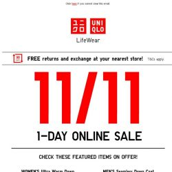 [UNIQLO Singapore] 1-day only online exclusive deals!