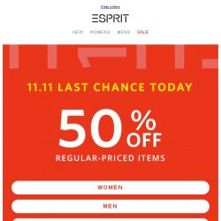 [Esprit] Last chance to enjoy 50% off! New items added
