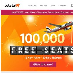 [Jetstar] 100,000 FREE^ seats to over 20 destinations up for grabs for the month of November!