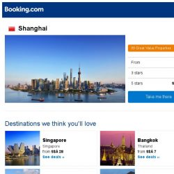 [Booking.com] Deals in Shanghai from S$ 31