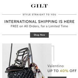 [Gilt] FREE International Shipping on All Orders🌎