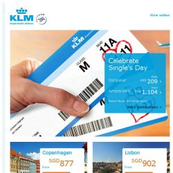 [KLM] Our Single's Day deals are still on! Last chance to book!