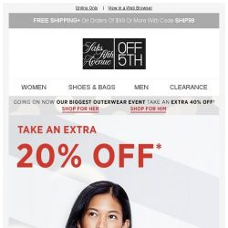 [Saks OFF 5th] Time's running out for extra 20% off straight-from-Saks styles