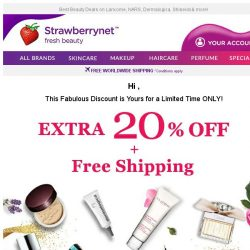[StrawberryNet] LAST 24 HRS! Extra 20% Off + Free Shipping will Slip Away Soon!