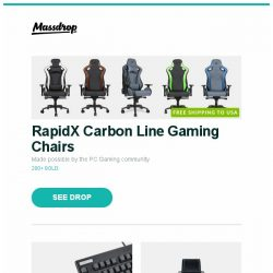 [Massdrop] RapidX Carbon Line Gaming Chairs, Topre Realforce 87U with PBT Spacebars, Montblanc TimeWalker Urban Speed Chronograph Watch and more...