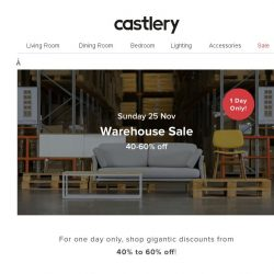[Castlery] Love Bargains? Warehouse Sale – 1 Day Only!