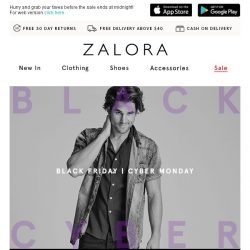 [Zalora] ⚡ 3-Hour Pre-BLACK FRIDAY Madness | 25% OFF SITEWIDE