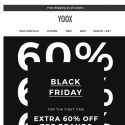 [Yoox] Black Friday: Top brands at 60% OFF for the first time