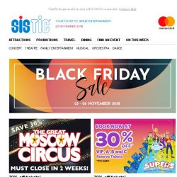 [SISTIC] Black Friday Sale begins now! More than 25 shows with up to 50% off!