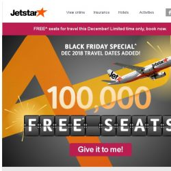 [Jetstar] 🎁 FREE^ seats for your December getaway now added! Black Friday Special - limited time only.