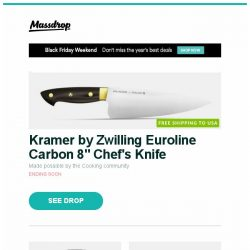 "[Massdrop] Kramer by Zwilling Euroline Carbon 8"" Chef's Knife, Seiko 5 Sport SNZG Automatic Watch, Orient Symphony Gen II Automatic Watch and more..."