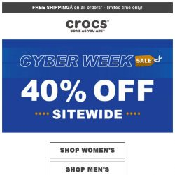 [Crocs Singapore] Super Sale❗ Extra 40% Off on Everything for Cyber Week‼