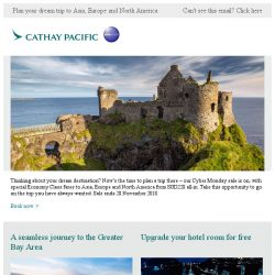 [Cathay Pacific Airways] Cyber Monday special fares from SGD228 all-in