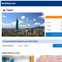 [Booking.com] Deals in Taipei from S$ 138