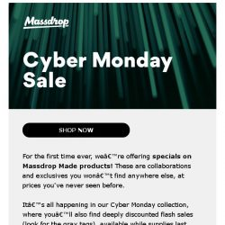 [Massdrop] This Cyber Monday, we're doing something different