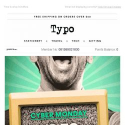 [typo] FINAL HOURS. Cyber Monday!