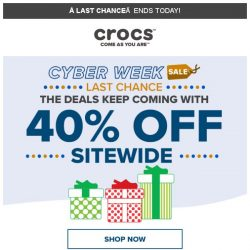 [Crocs Singapore] 【Ends Today】 Extra 40% Off on Everything!