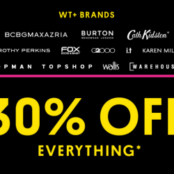 wt+: Black Friday Sale 2018 with 30% OFF Everything at Topshop, Topman, Warehouse, Cath Kidston, G2000 & More
